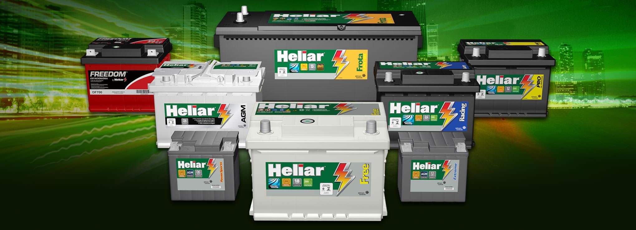 Baterias Heliar linha leve, pesada, frota, motocicletas e estacionárias.