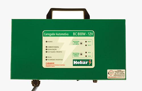 Carregadore Automotivo BC800W  Baterias Heliar, microprocessado com indicações digitais de estado de operação e falha através de led's.