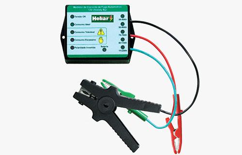 Medidor de corrente de fuga Baterias Heliar, mede e informa se a corrente de fuga está dentro dos padrões do veículo e da bateria.